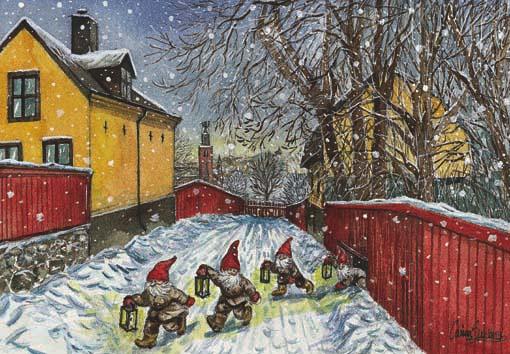 postales navidad, niños patinado en nieve