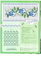 bonita cenefa en punto de cruz de flores azules