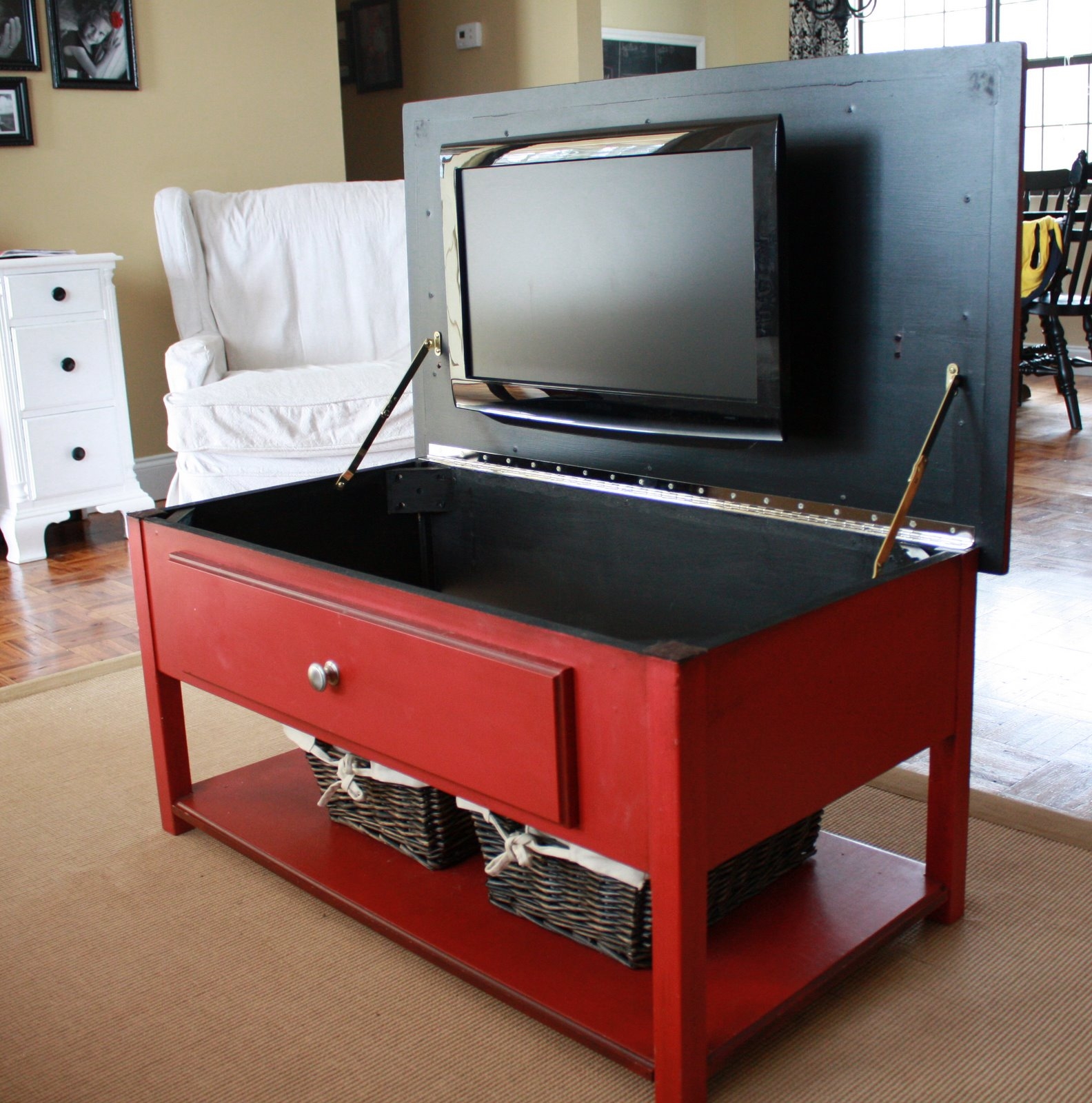 Tv Hidden In Coffee Table It 39s Just Laine The Amazing Red Coffee Table