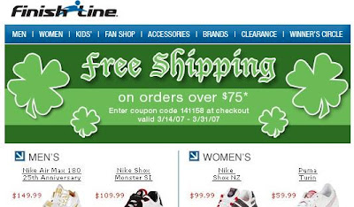 """Overstock offered subscribers a 7% off coupon in a March 15 email with the  subject line """"Happy St. Patty's Day ..."""