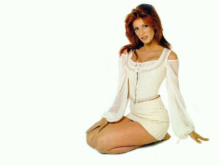 Angie Everhart White Dress Red Hair