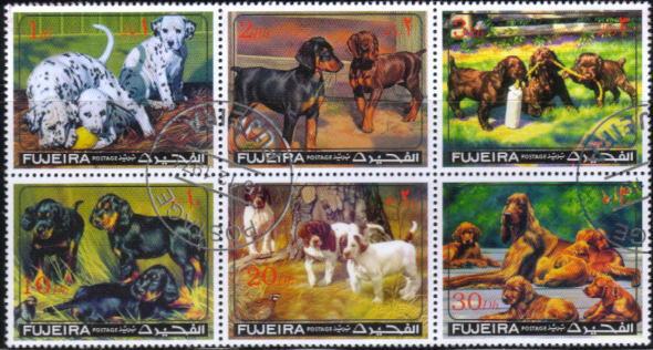 1971年フジェイラ ダルメシアン ドーベルマン コッカー・スパニエル アイリッシュ・セターなどの切手