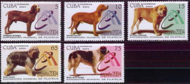 2004年キューバ共和国 スパニッシュ・ポインター カ・デ・ボウ サブエソ・エスパニュール オールド・イングリッシュ・シープドッグ ピレニアン・マスティフの切手