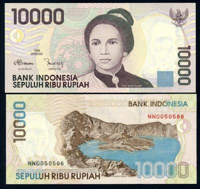 Hasil gambar untuk Uang pecahan Rp 10.000 tahun emisi 1998