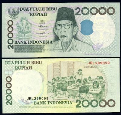 Hasil gambar untuk uang pecahan Rp 20.000 tahun emisi 1998