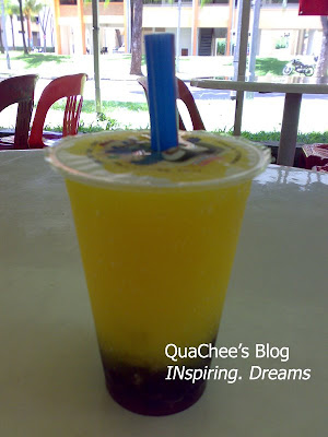 bubble tea, mango freeze with pearls