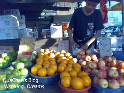 pasar malam, fruits - apple, orange, pear