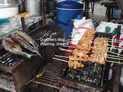 thai night market, thailand, satay