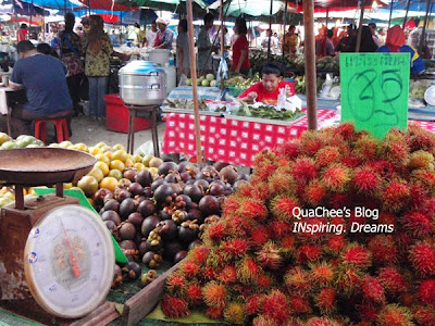 thai night market, thailand, fruits, mangosteen, rambutan