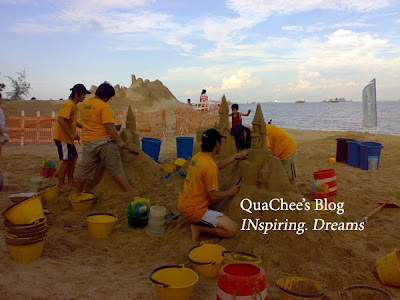 east coast park, singapore, beach, big sand castle