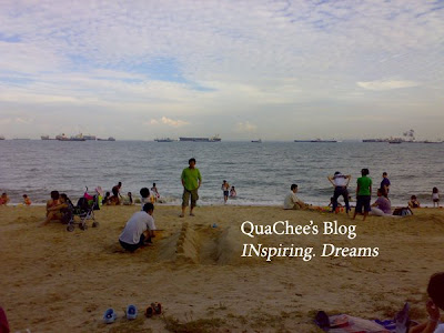east coast park, singapore, beach, sandcastle