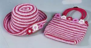 Paper Crochet Hat Bag TG689 Kız Çocukları İçin Çanta Şapka Takımı