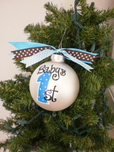 Eco Friendly Freckles Baby Bobbys First Christmas Ornament