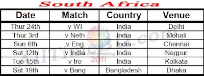 South Africa ICC cricket world cup 2011 match schedule