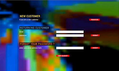 Radiohead's In Rainbows download screen, Signup/Login