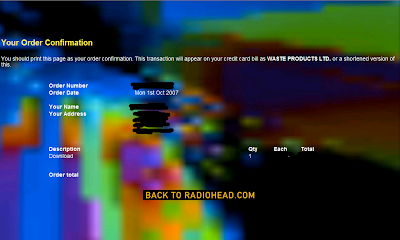 Radiohead's In Rainbows download screen, Order confirmed!