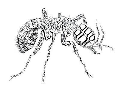 Calligram Ant by ~Inky-la-reve