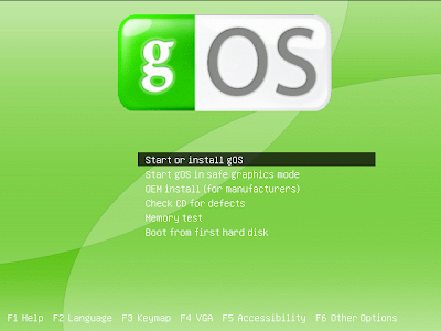 gOS boot screen