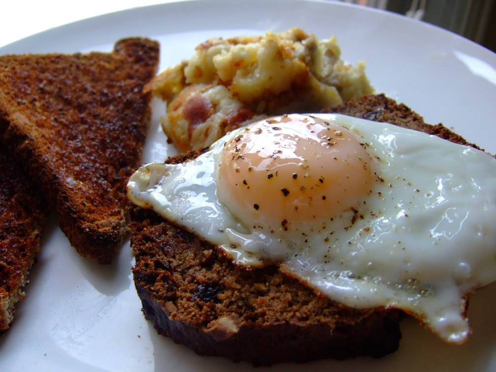 Maple Bison Sausage Bread with Eggs and Fried Garlic Mash ...