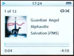 iPod rodando a música Guardian Angel da banda Alphaville