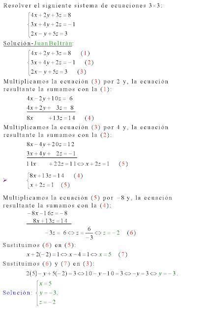Cálculo21: Sistema de ecuaciones 3x3 resuelta por el