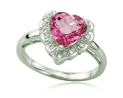 White Gold Pink Topaz Heart Ring