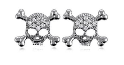 CZ Skull Stud Earrings