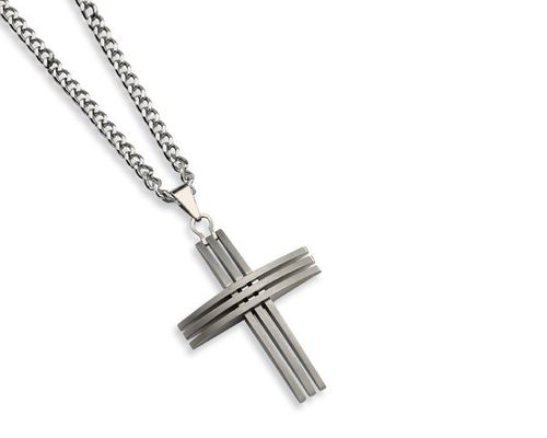 Stainless Steel Line Cross Necklace