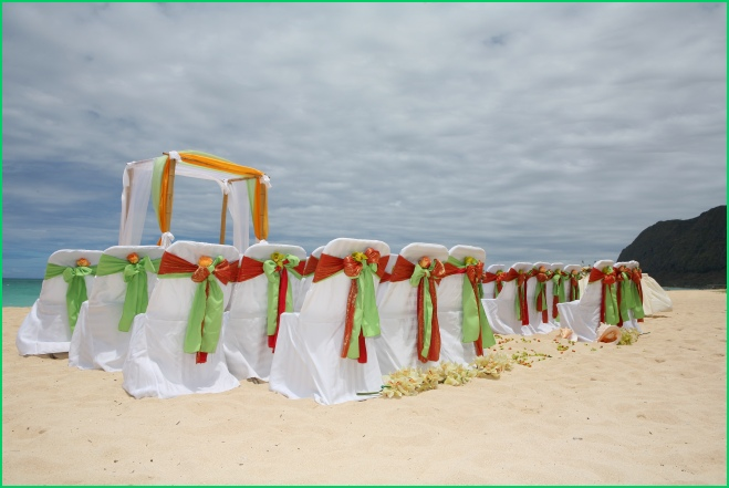 One idea that stands out from the others is this one  some people who will  to spend on this can make a temporary and removal long  wide board just  Tbdress Blog Hawaiian Wedding Themes Can Be Celebrated By Any Coast. Orange And Lime Green Wedding Theme. Home Design Ideas