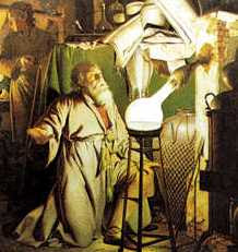 The Alchemist in Search of the Philosophers Stone (1771) by Joseph Wright, depicts Hennig Brand discovering phosphorus