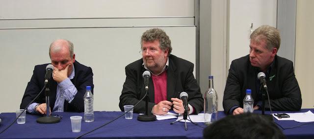 madeleine Mccann panel: Kelvin Mackenzie (former editor of the Sun), Steve Hewlitt ( freelance journalist), the 'moderator', and Clarence Mitchell (McCanns' spokesman) pic: Kerstin Rodgers/msmarmitelover