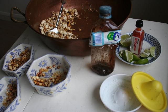 Popcorn and chili sauces
