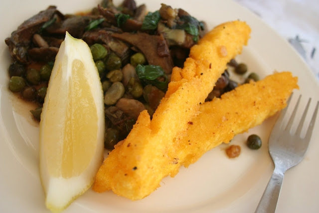 broad beans and artichokes with tempura style fried polenta