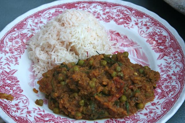 Smoked aubergine and pea curry and saffron basmati rice