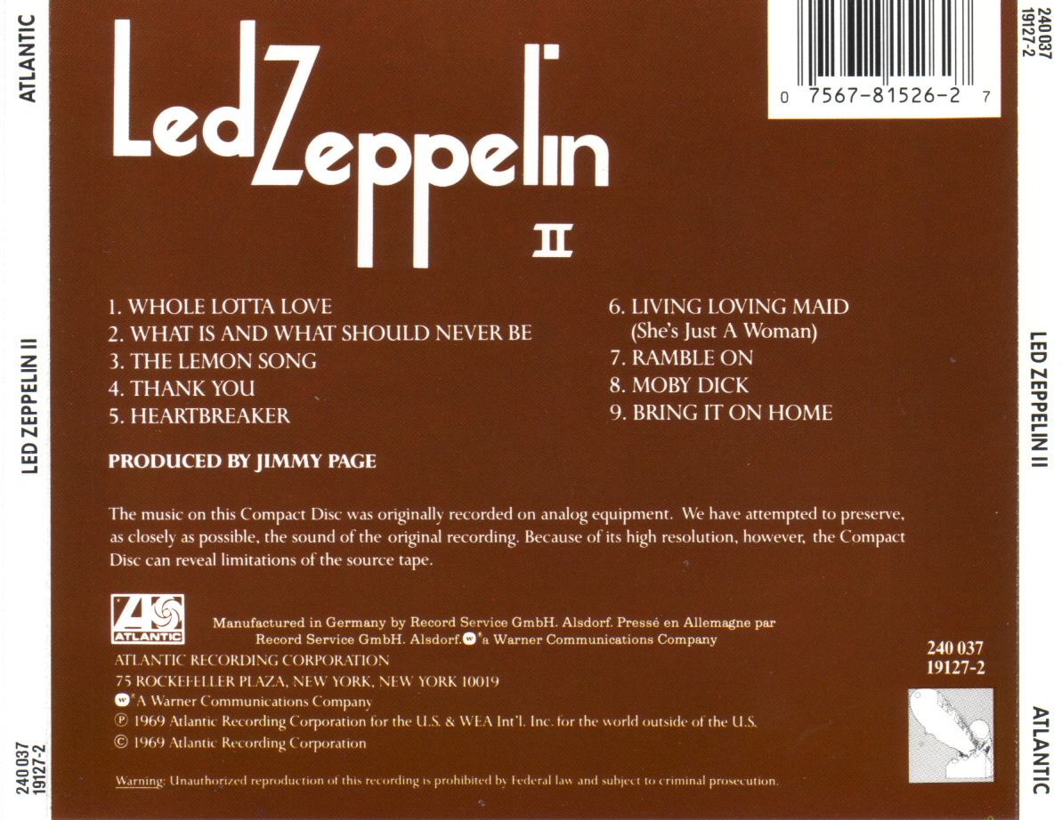 Musicotherapia Led Zeppelin Ii 1969