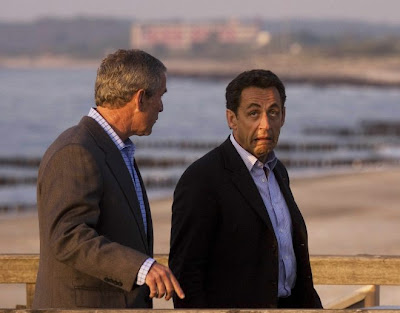 Bush and Sarkozy at G8