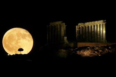 Athens. Greece Moon