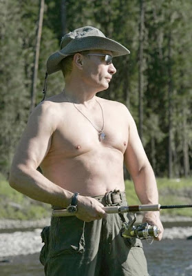 Putin topless on the fishing