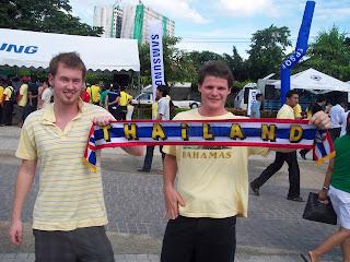 Australian fans cheer on the Thai's