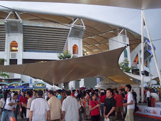 Fans queue for their free tickets