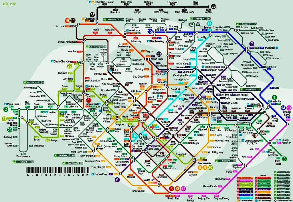 Detail Singapore City MRT & LRT Route Map | About Singapore ...