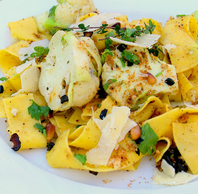 Pappardelle with Baby Cauliflower, Pine Nuts and Bacon
