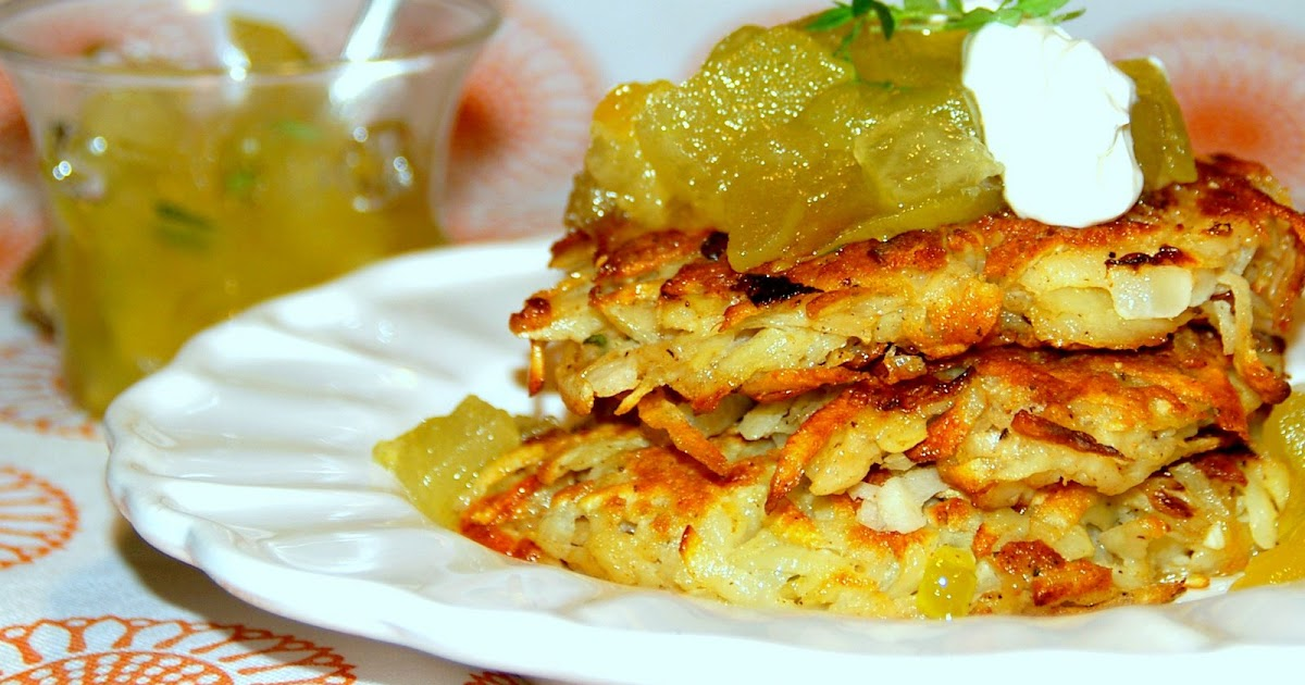 Gourmet Girl: Potato Pancakes topped with Apple-Thyme Sauce