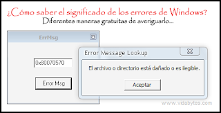 Significado de los errores de Windows