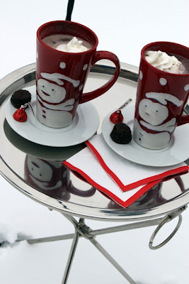 Hot chocolate in snowman mugs