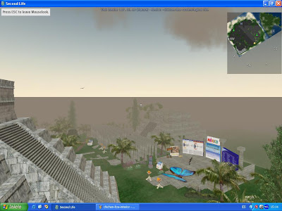 Imagen del entorno de la zona del Yucatan que rodea a Chichen Itza en la reconstrucción de Chichen Itza en Second Life