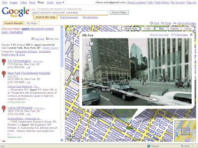 Vista del plano de Google Maps con la opción street view activada para circular por todas las calles de la ciudad on visión panorámica de 360º