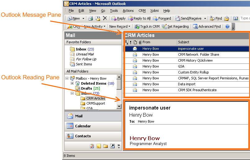 duplicate outlook reading pane for ms crm 4 0 activities. Black Bedroom Furniture Sets. Home Design Ideas