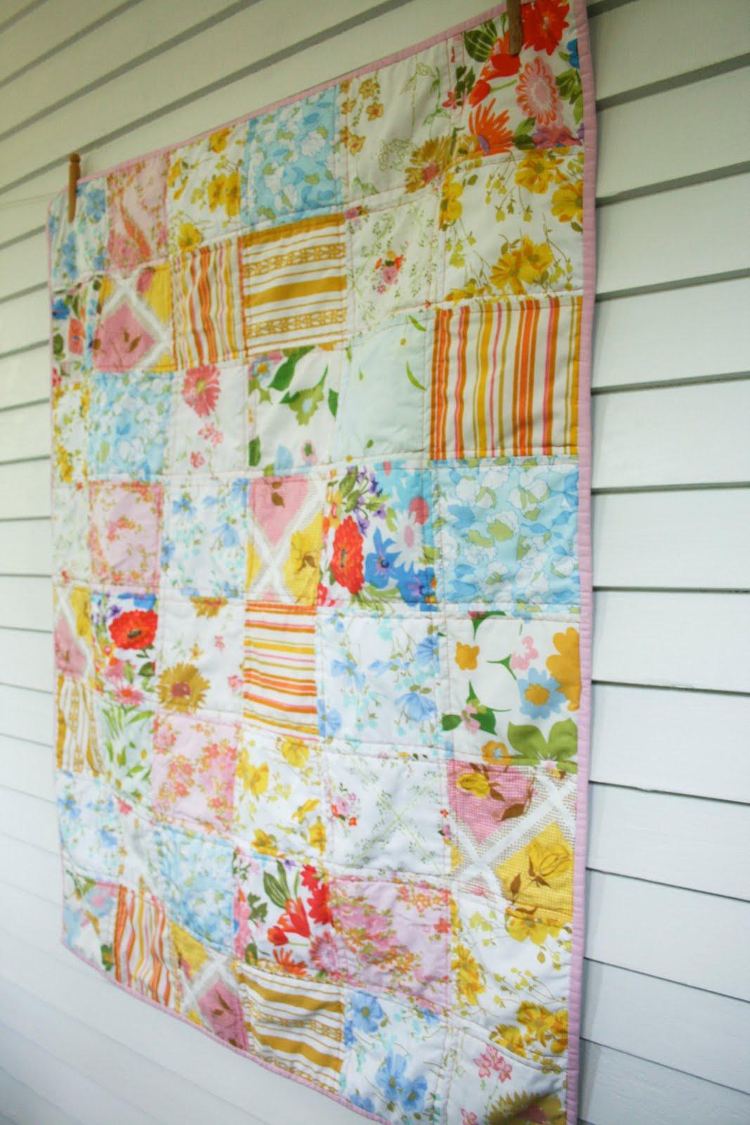 Craftyblossom Vintage Sheet Patchwork Quilt