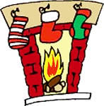 Clipart of a Christmas fireplace with stockings hanging on it